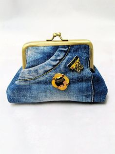 Customised denim jeans coin purse  vintage badges