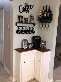 best DIY coffee station ideas for all coffee lovers - tiny space co . - best DIY coffee station ideas for all coffee lovers – tiny space corner coffee bar ba - Coffee Bar Home, Home Coffee Stations, Coffee Bar Ideas, Coffee Nook, Wine And Coffee Bar, Coffee Bar Design, Coffee Kitchen Decor, Coffee Bar Station, Coffee House Decor
