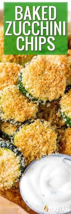 Baked Zucchini Chips are a delicious healthy snack or appetizer, and perfect for dipping! Make this recipe with your favorite spice blend. #BakedZucchiniChips #Appetizer #HealthySnack