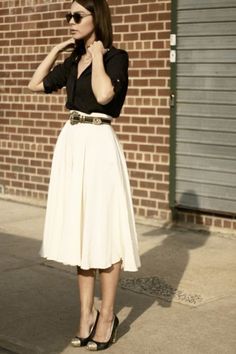 What to Wear to Work, Pleats Edition: Black Button-Front Blouse, White Pleated…