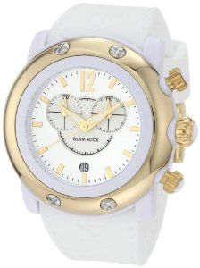 Glam Rock Women's GW25121 Miami Beach Chronograph Silver Dial White Silicone Watch: Watches: