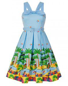 'Bailee' Light Blue Waterpark Print Swing Dress