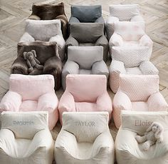 personalized bean bag chairs. perfectly sized for toddlers. #rhbabyandchild