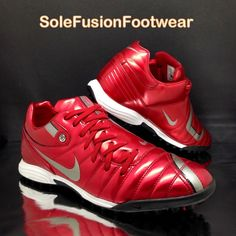2bcccd0e0a Nike mens Total 90 Football Trainers Red sz 9 Shift Soccer Sneakers US 10  EU 44