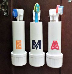 A cute, cheap and simple way to store your toothbrushes.