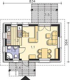 Projekt domu Martin LMW18 54,10 m² - koszt budowy - EXTRADOM Small House Plans, Floor Plans, How To Plan, Houses, Little House Plans, Tiny House Plans, Floor Plan Drawing