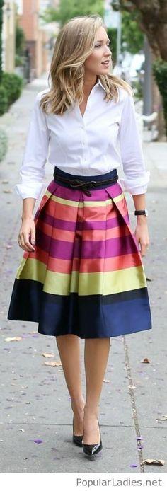 colorful-midi-skirt-white-shirt-and-high-heels