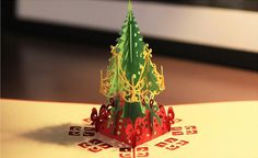 Christmas tree 3D Pop UP Gift & Greeting 3D Blessing Cards Handmade paper silhoue & Creative Happy Birthday Cards christmas cards