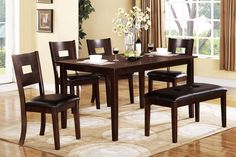 Dining Table With 4 Chairs + Bench F2118 Prepare to indulge in a beautiful dining experience with the dark espresso casual dining table of basic lines for a modern kitchen. F2118 Dining Table Table F1