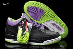 2013 New Joker Black/Green-Purple 2013 Air Jordan 3 (III) For Sale