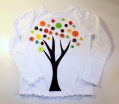 My Own Road: Fall Button Tree Shirt tutorial Fall Shirts, Cute Shirts, Fall Projects, Sewing Projects, Button Tree, Shirt Tutorial, Diy Buttons, Sewing For Kids, Fall Crafts