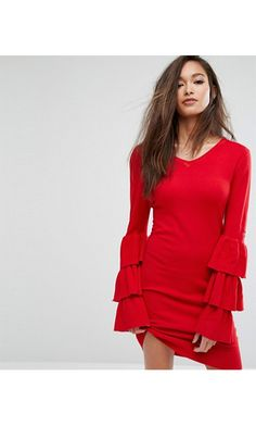 Shop the latest PrettyLittleThing exclusive ruffle sleeve knitted dress trends with ASOS! Red Holiday Dress, Holiday Party Dresses, Nye Dress, Dress Red, New Years Eve Dresses, Ruffle Sleeve Dress, Sleeve Dresses, Going Out Dresses, Winter Dresses