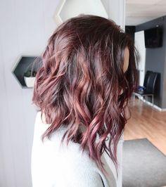 Dusty plum brunette hair color. Subtle rose and mauve balayage on a textured aline lob haircut
