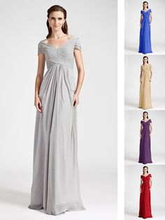 Floor-length Chiffon Bridesmaid Dress - Ruby / Grape / Royal Blue / Champagne / Silver Plus Sizes / Petite Sheath/ColumnV-neck / - EUR €75.99