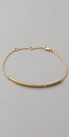 Jennifer Zeuner Horizontal Bar Bracelet with Diamond - StyleSays