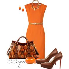 Chic & Simple Orange Dress, created by ccroquer on Polyvore