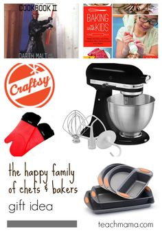 Do you like to cook and bake as a family? Here are some GREAT ideas for budding chefs and bakers that will promote families spending time in the kitchen together! #teachmama #cooking #baking #familytime #giftideas #bakinggifts #cookinggifts