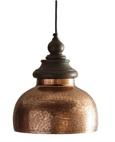 """Handsome profile and delicate tool mark applique on this beautiful antique copper pendant light. Black cord, needs to be installed. Dimensions: 11"""" x 11"""" x 12.5"""" Material: Metal"""