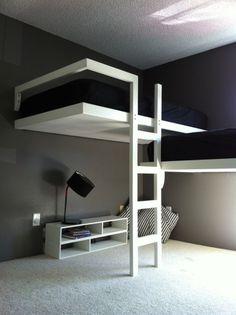 Split level l shaped loft beds