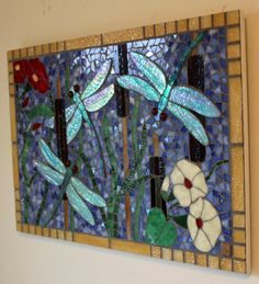 Tile & Mosaic For Sale | Glass Mosaic Iridescent Dragonfly Panel | ArtsyHome