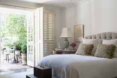 Master bedroom in Brentwood Bedroom TraditionalNeoclassical by Blythe Home Serene Bedroom, Large Bedroom, Home Interior Design, Interior Architecture, Design A Space, Interior Shutters, Elle Decor, Contemporary Furniture, Outdoor Spaces