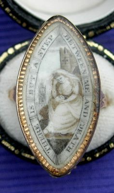 """""""There is But a Step Between Me and Death"""" c. 1789 - on the back, engraved """"Mary Ridley ob 24 Mar 1789 AET 77"""