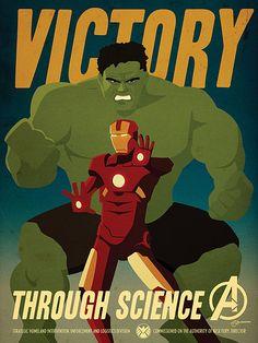 Marvel Comics Avengers Propaganda Poster Set by artist Adam Levermore.