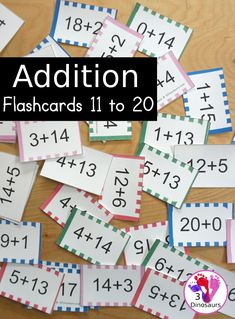 Free Addition Flash Cards 11-20 - five colors of addition cards to pick from with 8 addition flashcards on each page - 3Dinosaurs.com #3dinosaurs #freeprintable #addition #mathflaschard #mathprintable #firstgrade #secondgrade First Grade, Second Grade, Addition Flashcards, Hands On Learning, Gross Motor, 5th Grades, Free Printables, Arts And Crafts, Activities