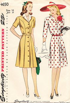 1940s Misses' Day Dress with FrontButtoning by daisyepochvintage, $14.00