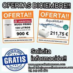 Aprovecha nuestras #OFERTAS del mes de #DICIEMBRE ! #TERMO CON BOMBA DE CALOR #ARISTON NUOS PRIMO 100 LITROS POR 900 EUROS!! BOMBA DE RETORNO #AQUARETURN #WILO POR 211,75 EUROS!! #ENVÍOGRATIS en la penísula!  #AGUACALIENTEENCASA #AGUACALIENTE #OFERTA #OFERTAS #PROMOCION #PROMOCIONES #BIENVENIDODICIEMBRE #DICIEMBRE #DICIEMBRE2015 #TERMO #TERMOS #TERMOSMADRID  #AGUA #AHORRAAGUA #AHORROAGUA #CASA #HOGAR #TECNOLOGIA