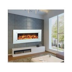 Electric-Fireplace-Remote-Control-Wall-Mount-Heater-Furniture-Home-Warmer