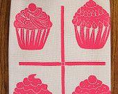 SALE block print ORGANIC grid cupcake tea towel