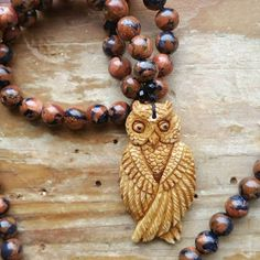 Owl Totem, owl magick, owl totem, owl mala, owl necklace, owl prayebeads, magick prayerbeads, magick mala, witch prayerbead, witch mala, by MagickAlive on Etsy