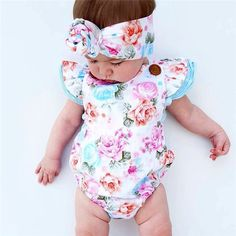 ef90c2f4b Baby Pretty Floral Sleeveless Bodysuit and Headband Set for Baby at  PatPat.com Bloomer,