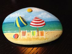 Chairs on the beach. #rockpainting