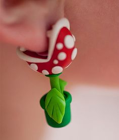 Piranha Plant Earrings  Today's discovery of these cute Piranha Plant Earrings really made my day!  Youch!
