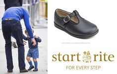 Prince George. Start Rite Jo, Navy Blue Leather Boys Buckle First Walking Shoes (£37).
