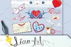 Collection of love mail design eleme. Wedding Fonts