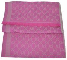 00862a37702d8 NEW Gucci 282390 Large Pink Grey Wool Silk GG Guccissima Logo Scarf Shawl   Gucci