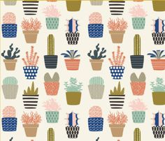Spoonflowers Succulent Collection by designer Nadia Hassan. Printed on Organic Cotton Knit, Linen Cotton Canvas, Organic Cotton Sateen, Kona Cotton,