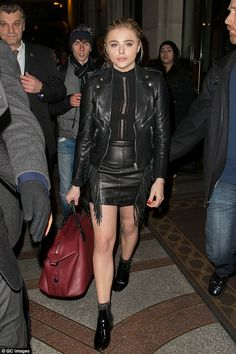 Lady in leather: Chloe Moretz went double when she was out in Paris on January 19, 2016
