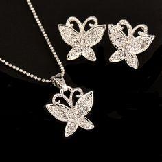 Women / Teen Girls Rhinestone Butterfly Necklace & Earring Jewelry Set