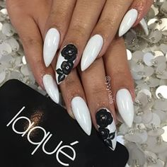 White Coffin Nails with Black Flowers. Enhance your look of your night date with your partner by adopting this amazing floral black and white studded nail art design. White Coffin Nails, White Acrylic Nails, White Nail Art, Stiletto Nails, White Nails, Black And White Nail Designs, Black Nails, Black White, Prom Nails