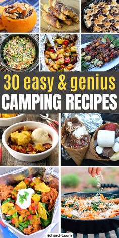 30 Easy camping recipes that'll make your next camping trip even better! These camping recipes are delicious, easy and beat most normal kitchen recipes! Make sure to use this list of recipes on your next camping adventure! Best Camping Meals, Camping Foods, Camping Ideas, Outdoor Camping, Camping Menu, Backpacking Meals, Camping Supplies, Camping Hacks, Vegetarian Camping