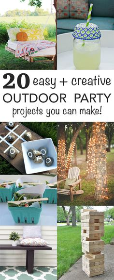 More than 20 easy DIY outdoor projects - perfect for dressing up your backyard or for summer parties and entertaining
