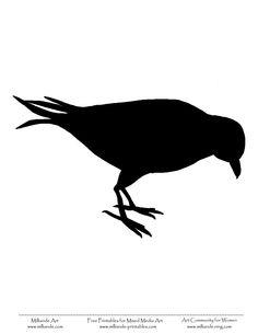 Crow Bird Silhouette Bird Stencil  Template