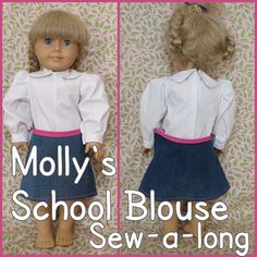 Molly's School Blouse Doll Sew-a-long ::  step by step photos :: link to free American Girl pattern download
