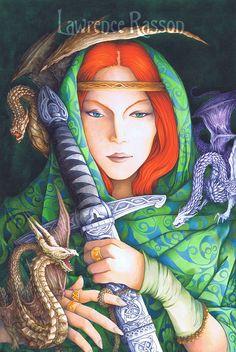 """""""L'épée et les Dragons"""" An illustration from """"La République Invisible"""". French translation of the Reverend Kirk's book (Elf-shot éditions) about Fairie's culture."""