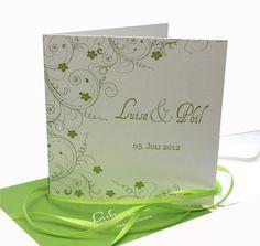 """Einladungskarte Hochzeit """"grün weiß eleg."""" von moments auf DaWanda.com"""