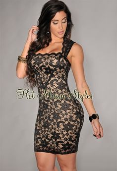 Black lace nude illusion dress by hot miami styles more illusion dress